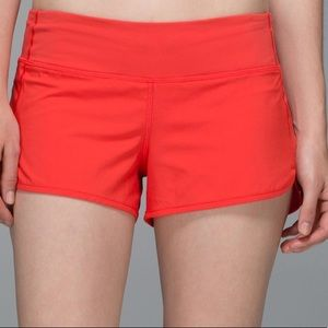 Red lululemon speed short